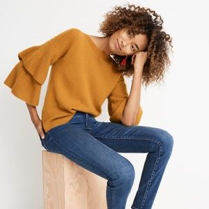 MADEWELL Mustard Tier-Sleeve Soft Sweater Boatneck